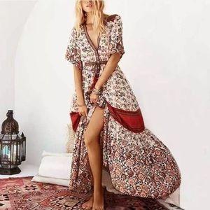 Dresses & Skirts - Boho Maxi Gown DRESS Rosewood Floral Elle Red Blue